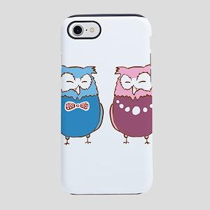 Blue & Pink Formal Owls iPhone 8/7 Tough Case