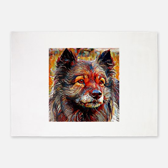Keeshond: A Portrait in Oil 5'x7'Area Rug