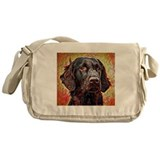 Flat coated retriever Canvas Messenger Bags