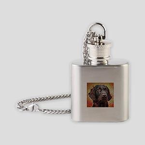 Flat Coated Retriever: A Portrait i Flask Necklace
