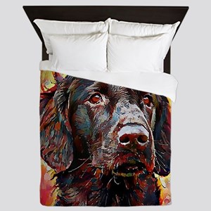 Flat Coated Retriever: A Portrait in O Queen Duvet