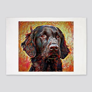 Flat Coated Retriever: A Portrait i 5'x7'Area Rug
