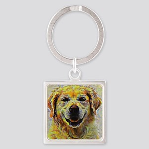 Golden Retriever: A Portrait in Oi Square Keychain