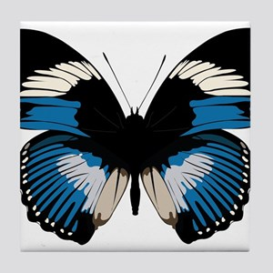 Blue and black butterfly design Tile Coaster