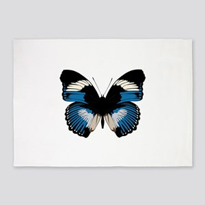 Blue and black butterfly design 5'x7'Area Rug
