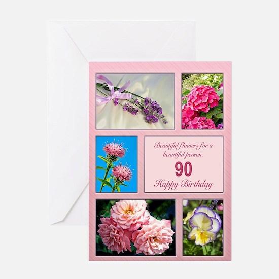 90th birthday, beautiful flowers birthday card Gre