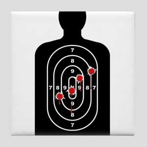 Human Shape Target With Bullet Holes Tile Coaster