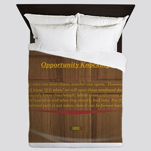 15th Quote; Opportunity Knocking Queen Duvet
