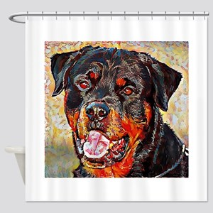 Rottweiler: A Portrait in Oil Shower Curtain
