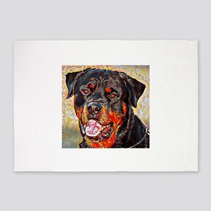 Rottweiler: A Portrait in Oil 5'x7'Area Rug