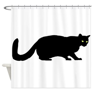 Black Cat Silhouette Shower Curtains