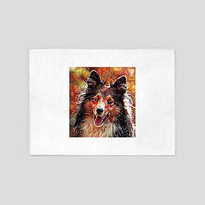 Shetland Sheepdog: A Portrait in Oi 5'x7'Area Rug