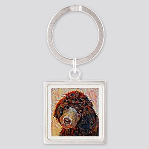 Standard Poodle: A Portrait in Oil Square Keychain