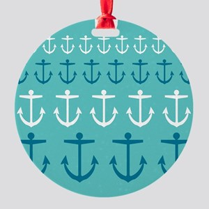 Anchor Pattern Round Ornament