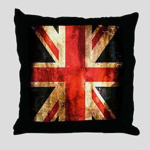 British UK Flag Grunge Vintage Throw Pillow