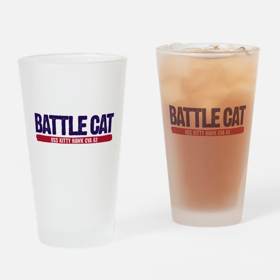 Battle Cat USS Kitty Hawk CVA 63 Drinking Glass