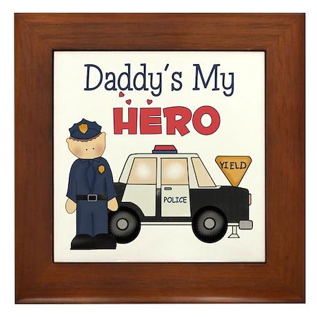 Daddy's My Hero Framed Tile