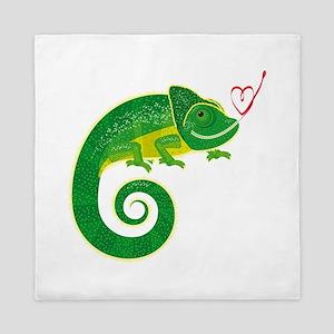 Chameleon love art Queen Duvet