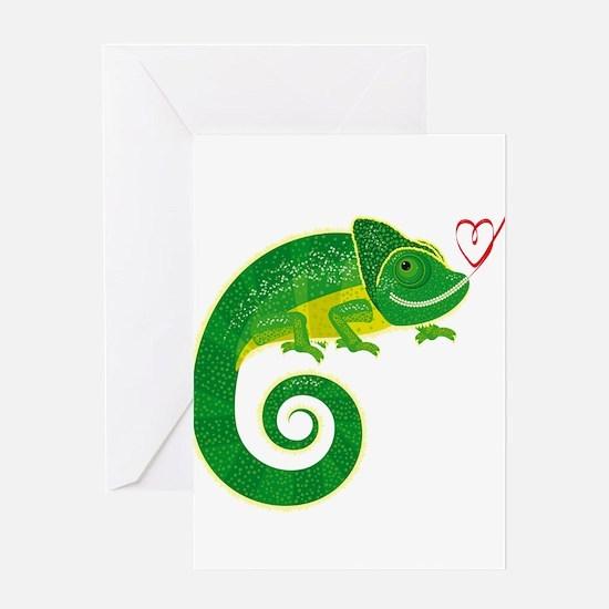 Chameleon love art Greeting Cards
