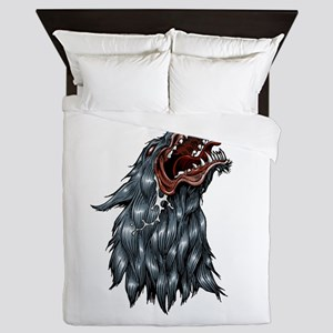 Snarling coyote or wolf mascot Queen Duvet
