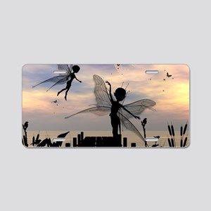 Cute fairy dancing on a jetty Aluminum License Pla