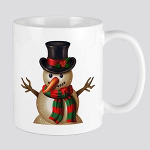 Christmas snowman character on lighting backg Mugs