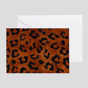 SKIN5 BLACK MARBLE & BROWN BURL WOOD Greeting Card