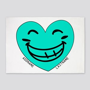 Personalized Heart Silly Grin 5'x7'Area Rug