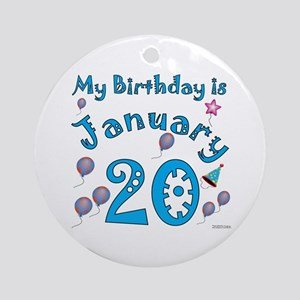 January 20th Birthday Ornament (Round)
