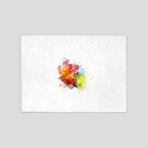 Splash watercolor blots abstract ba 5'x7'Area Rug