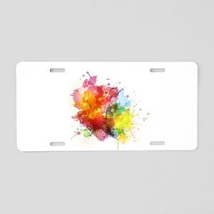 Splash watercolor blots abs Aluminum License Plate