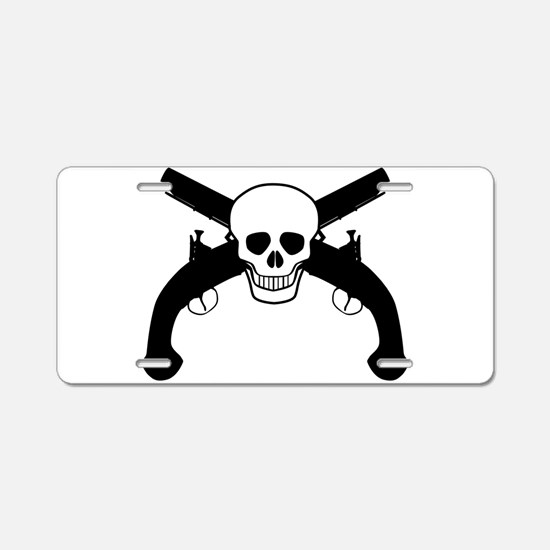 Skull and Pistols Aluminum License Plate
