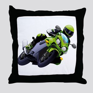 Motorcycle racer sliding Throw Pillow