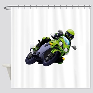 Motorcycle racer sliding Shower Curtain