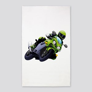 Motorcycle racer sliding Area Rug