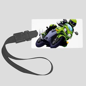 Motorcycle racer sliding Large Luggage Tag