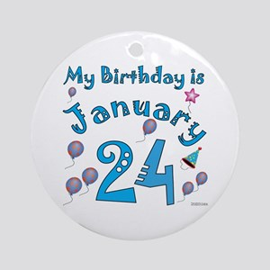 January 24th Birthday Ornament (Round)
