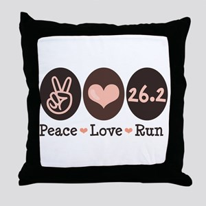 Peace Love Run 26.2 Marathon Throw Pillow