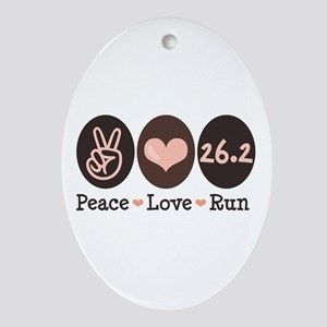 Peace Love Run 26.2 Marathon Oval Ornament