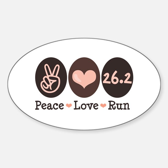 Peace Love Run 26.2 Marathon Oval Decal