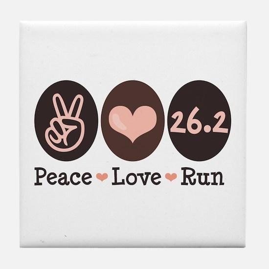 Peace Love Run 26.2 Marathon Tile Coaster