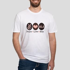 Peace Love Run 26.2 Marathon Fitted T-Shirt