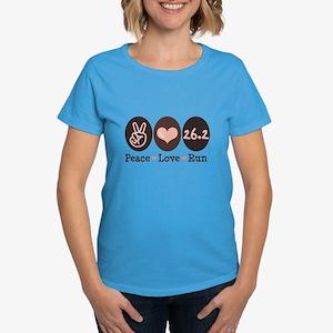 Peace Love Run 26.2 Marathon Women's Dark T-Shirt