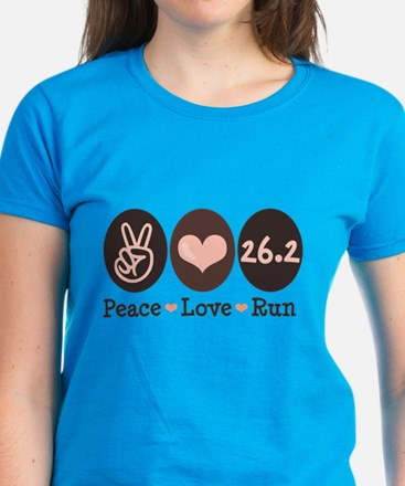 Peace Love Run 26.2 Marathon Women's Dark T-Shirt