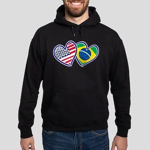 USA Brazil Heart Flags Hoodie