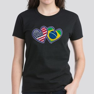 USA Brazil Heart Flags T-Shirt