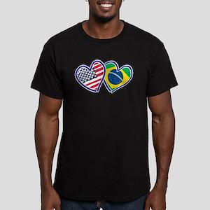 USA Brazil Heart Flags T-Shirt