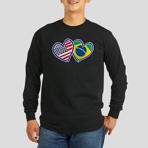 USA Brazil Heart Flags Long Sleeve T-Shirt