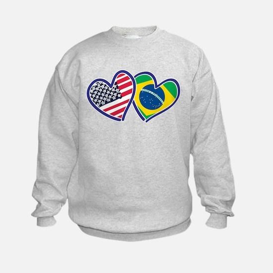 USA Brazil Heart Flags Sweatshirt