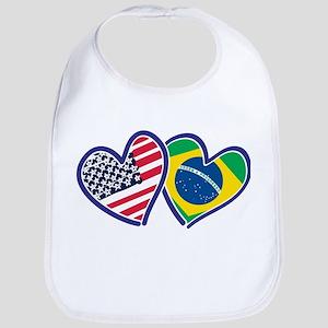 USA Brazil Heart Flags Bib